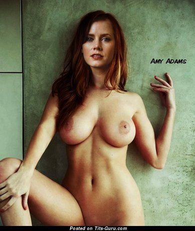 Amy Adams & Handsome Topless Italian Red Hair & Blonde Actress & Babe with Handsome Nude Medium Hooters & Erect Nipples (Sexual Picture)