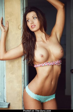 Graceful Brunette Babe with Graceful Exposed Normal Hooters (Sexual Image)