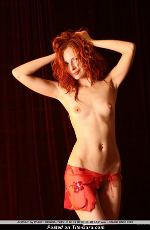 Alissa F - Hot Topless Red Hair Babe with Hot Bare Real Pint-Sized Melons (Sexual Pic)