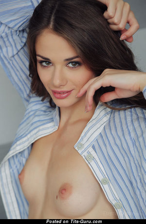 Image. Naked brunette with small natural breast image