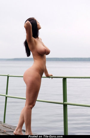 Naked nice girl with natural boobs photo
