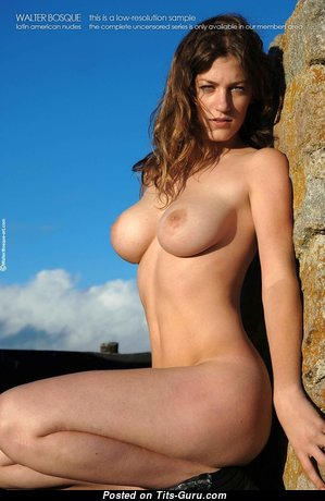 Alondra - Perfect Glamour Undressed Brunette with Huge Nipples, Tan Lines (Sexual Wallpaper)