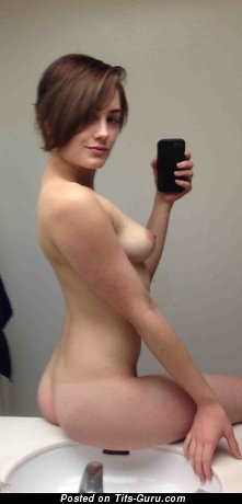 Image. Sexy topless amateur hot girl with small natural breast selfie