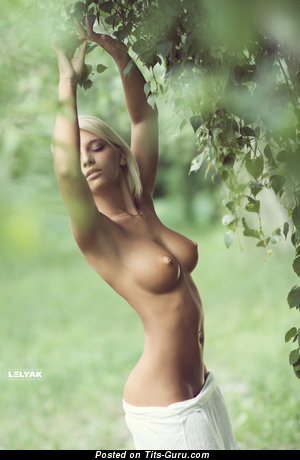 Naked blonde with medium tits pic