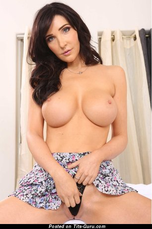 Diana Prince: topless brunette with medium fake tits photo