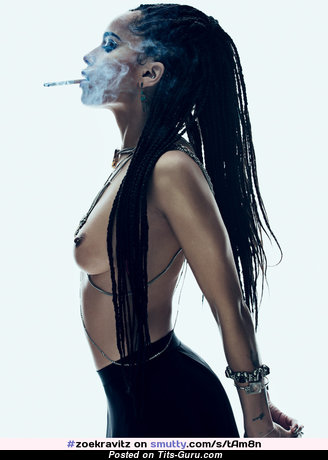 Zoe Kravitz - Adorable Topless Ebony Brunette Babe & Actress with Alluring Naked Real Titty, Red Nipples, Tattoo is Smoking (Xxx Pix)