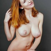 Sexy naked red hair with medium natural tittes pic