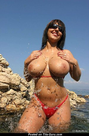 Superb Topless & Wet Brunette Babe with Superb Defenseless Real Substantial Hooters (Sexual Photo)