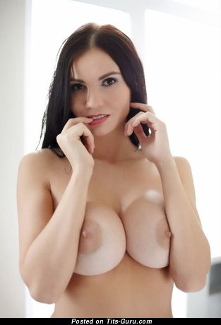 Image. Sexy naked brunette with medium tits and big nipples photo