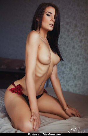 Adorable Brunette with Adorable Exposed Natural Average Tots (18+ Image)