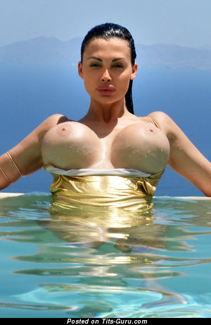 Aletta Ocean - Exquisite Wet & Topless Hungarian Escort Brunette Babe & Pornstar with Exquisite Exposed Fake Very Big Tit & Big Nipples in Bikini is Doing Fitness in the Pool & Beach (Hd Xxx Photo)