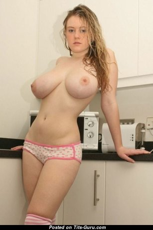 Sweet Topless Blonde with Dazzling Defenseless Natural G Size Tittes (Private Porn Photoshoot)