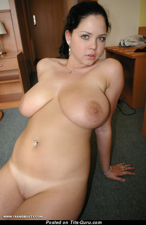 Shione Cooper: topless brunette with big natural boobies & big nipples image