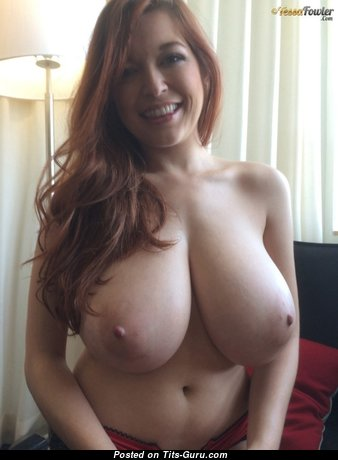Tessa Fowler - Dazzling Topless American Red Hair Pornstar with Dazzling Nude Natural Sizable Knockers & Long Nipples (18+ Wallpaper)