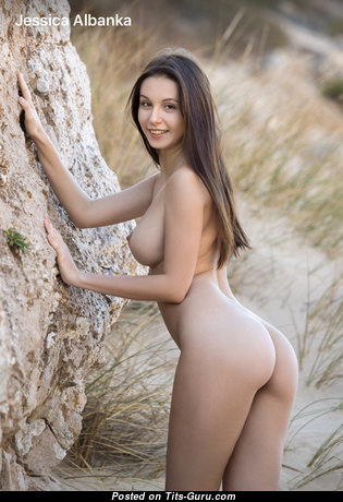Charming Topless Brunette Babe with Charming Bare Real Boobs (Xxx Foto)