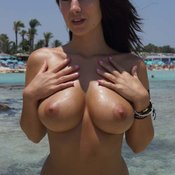 Superb Babe with Superb Bare Natural Normal Hooters & Huge Nipples (on Public Porn Photoshoot)