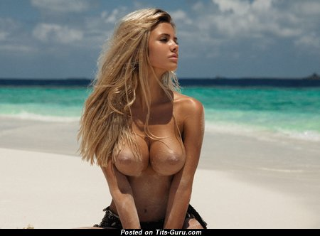 Beautiful Blonde with Beautiful Bare Soft Tots on the Beach (Hd Porn Foto)