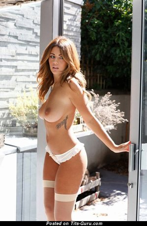 Sexy topless awesome female with medium natural tits image