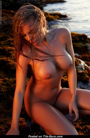 Brittie Photodromm - Gorgeous Blonde with Gorgeous Exposed Silicone Tits on the Beach (Hd Sex Foto)