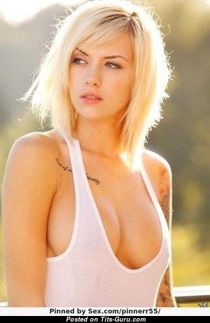 Emma Mae - Delightful Non-Nude American Blonde Babe & Pornstar with Tattoo (Xxx Photoshoot)