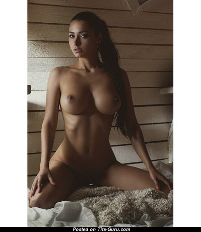 Helga Lovekaty & The Nicest Glamour & Topless Russian Red Hair & Brunette Babe with The Nicest Bald Sizable Titties & Enormous Nipples is Smoking (Xxx Foto)