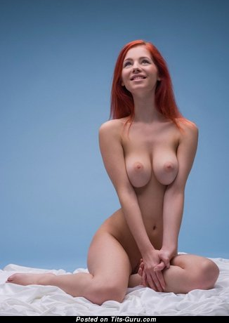 Image. Sexy naked red hair with big natural breast pic