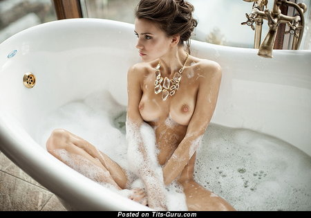 Awesome Lady with Superb Defenseless Natural Average Busts in the Shower (18+ Photoshoot)