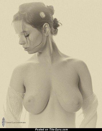 Изображение. Фото невероятной обнажённой женщины с средними натуральными сиськами
