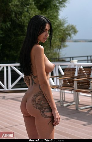 Image. Alina Vagner - sexy nude brunette with natural boobies and tattoo photo
