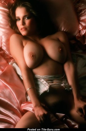Graceful Topless Playboy Brunette Babe with Graceful Exposed Real Busts (Vintage Hd Porn Foto)
