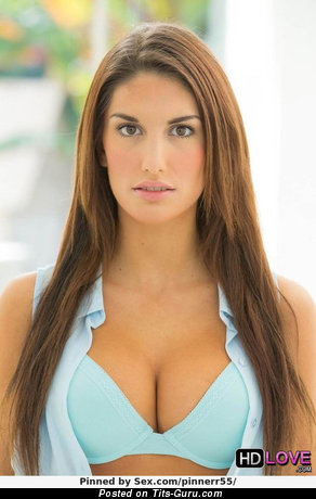 August Ames - Handsome Canadian Brunette Pornstar & Babe with Handsome Defenseless Natural Normal Tittes, Inverted Nipples, Tattoo & Piercing in Lingerie (Sex Picture)