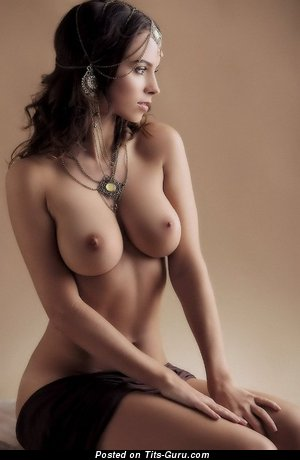 Image. Sexy naked brunette with medium natural breast pic
