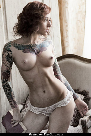 Topless awesome female with tattoo vintage