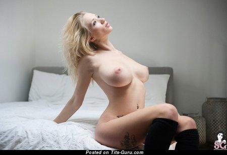 Natasha Legeyda - Splendid Russian Blonde Babe with Splendid Bald Dd Size Busts, Piercing & Tattoo (Hd Sex Image)