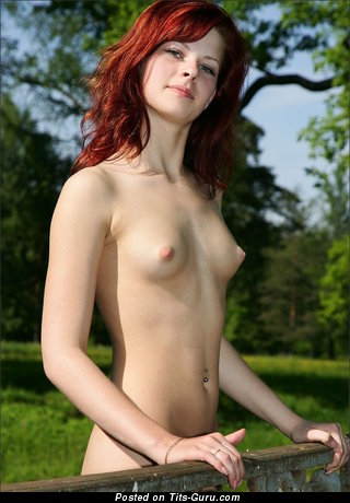 Naked red hair with small natural boobies picture