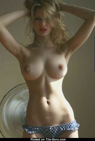 Fine Blonde Babe with Fine Naked Natural Average Busts (Hd Sexual Wallpaper)