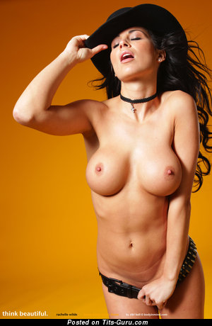 Splendid Cowgirl with Splendid Exposed Medium Titties (Hd Porn Photo)