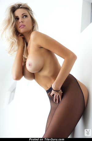Devin Justine - Yummy American Playboy Blonde with Yummy Exposed H Size Melons in Stockings (Hd Sex Image)