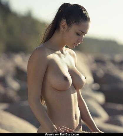Helga Lovekaty & Delightful Topless Russian Red Hair & Brunette Babe with Delightful Bare Natural Mid Size Boobs & Erect Nipples (Sexual Pix)