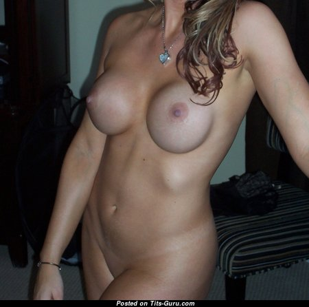 Pleasing Blonde with Pleasing Naked Silicone C Size Tits (Amateur Porn Picture)