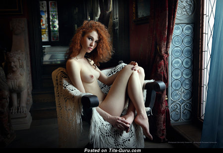 Image. Naked red hair with medium natural boob picture
