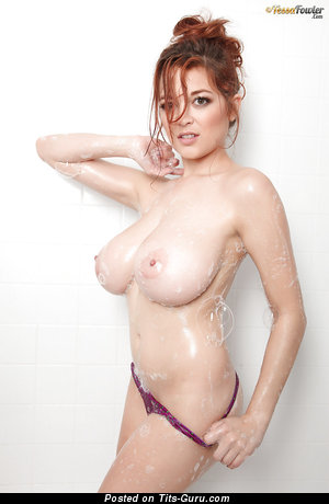 Tessa Fowler - Good-Looking Topless American Red Hair Pornstar with Good-Looking Exposed Mega Busts & Erect Nipples (Sex Photo)