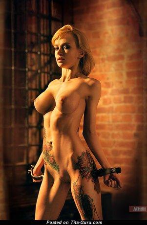 Image. Nude amazing girl with big fake breast photo