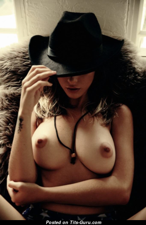 Holly James - Alluring Topless British Brunette with Alluring Nude Natural Firm Breasts (18+ Picture)