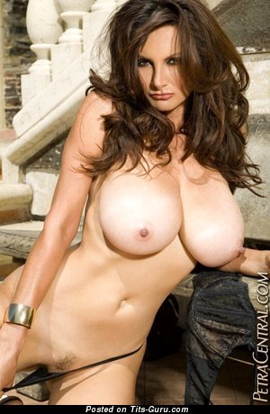 Image. Petra Verkaik - sexy topless brunette with big natural tittys photo