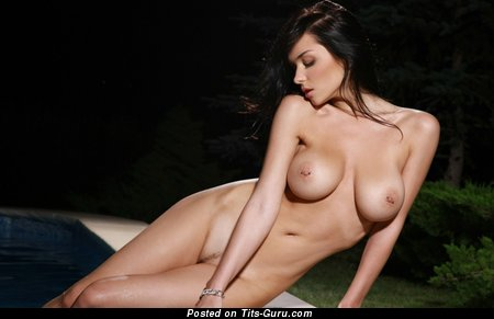 Image. Naked brunette with big breast pic