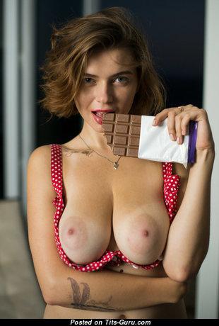 Superb Brunette with Superb Open Natural Breasts (Hd Sex Wallpaper)