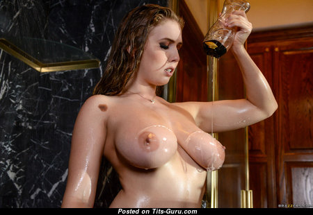 Lena Paul - Amazing American Red Hair Pornstar with Amazing Naked Natural Soft Tit in High Heels is Getting Orgasm in the Shower (Hd Porn Image)
