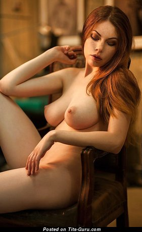 Image. Naked red hair with natural breast photo
