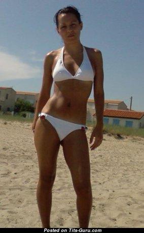 Brunette Bikini - Magnificent Female with Magnificent Bare Natural Humongous Tots in Bikini (Home Hd Sex Photo)